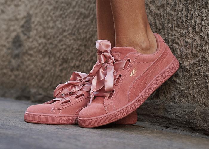 puma heart satin sneakers