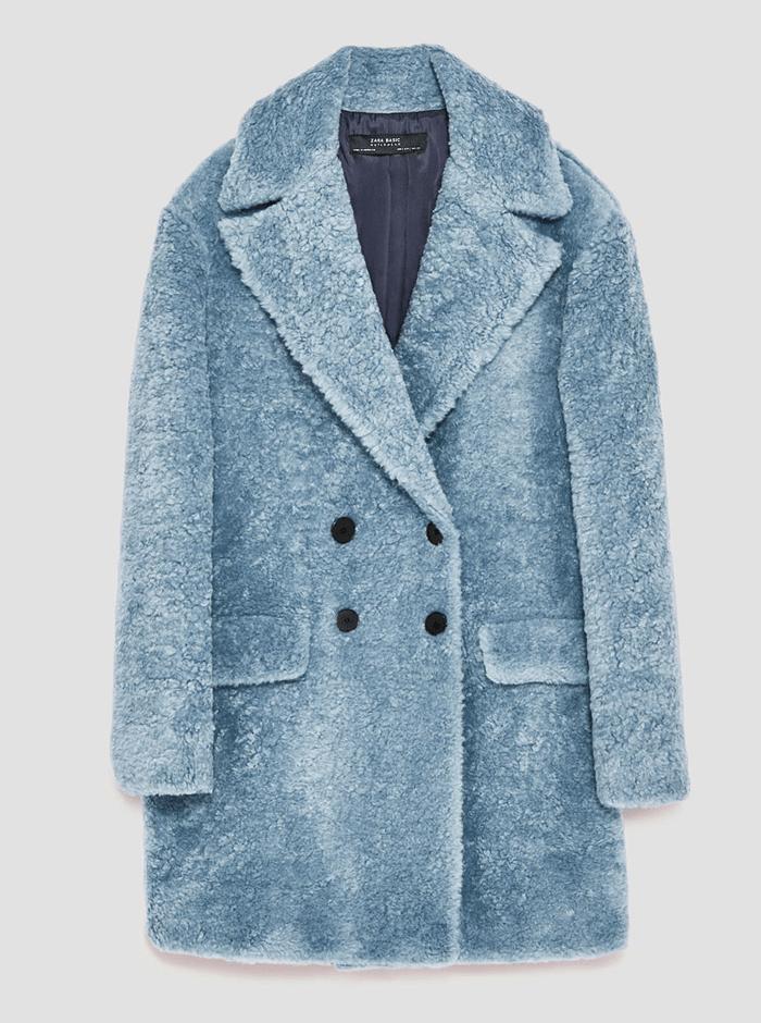 blauwe fluffy coat