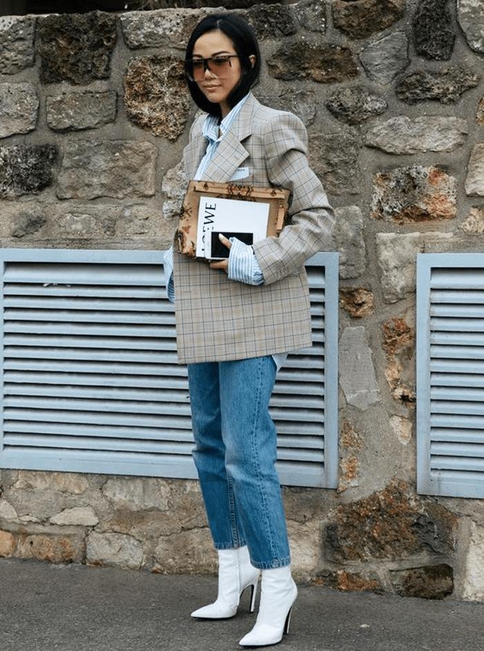 oversized geruite blazer