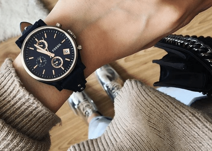 zwart horloge fossil