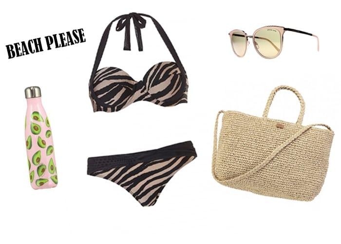 Zomer wishlijst, te gekke print bikini, zonnebril en beach bag
